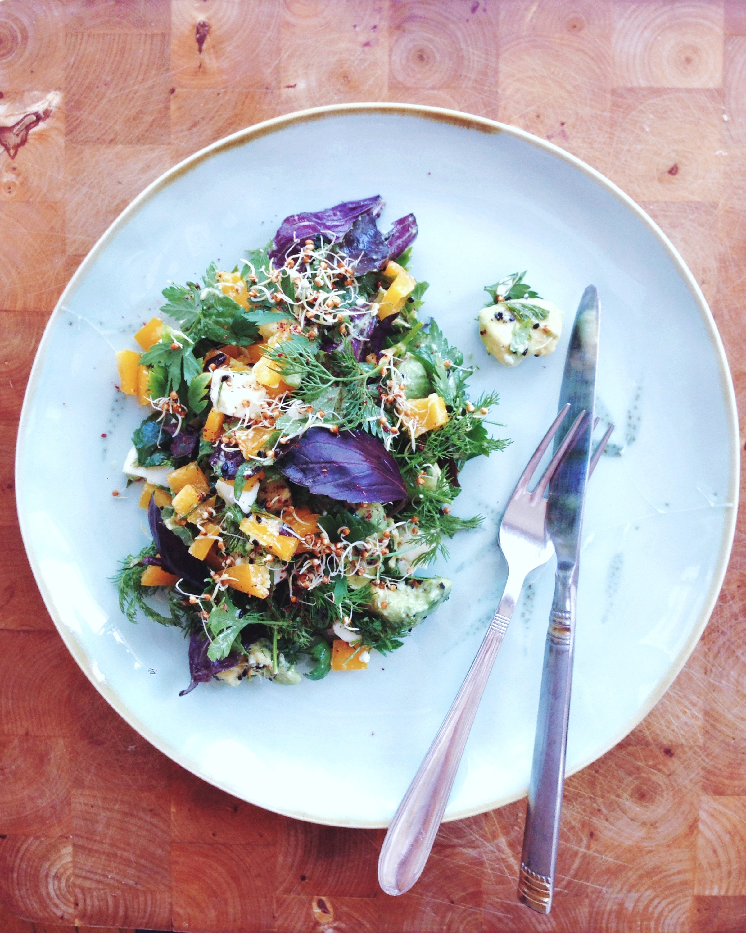 Regenbogensalat mit reichlich Kräutern