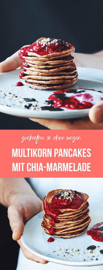 Fructosearme Pancakes mit Chia-Marmelade | Kefir, Buchweizen-, Dinkel- und Braunhirsemehl | zuckerfrei, weizen-frei | fructopia.de/