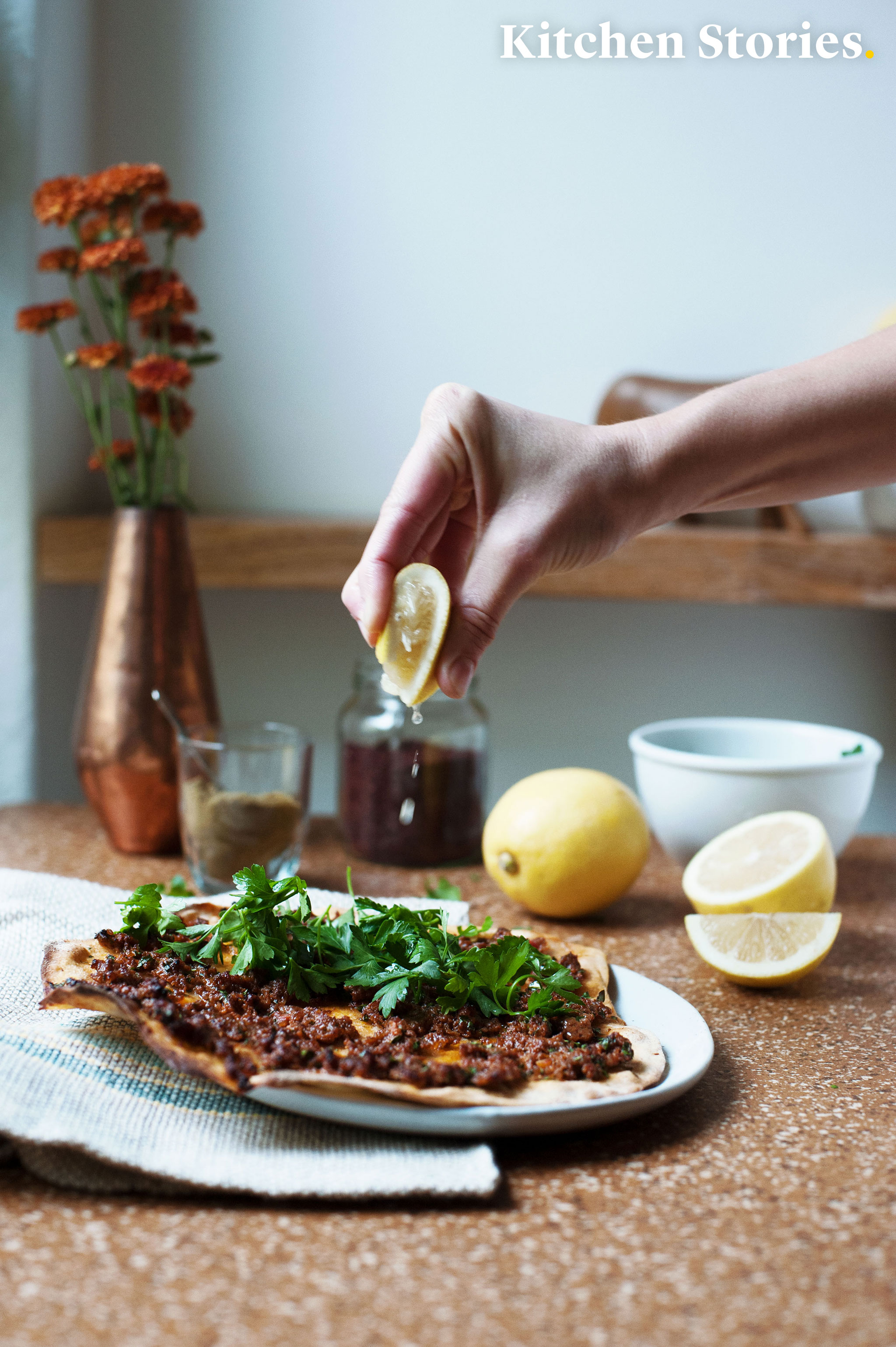 Homemade Turkish Pizza - Lahmacun with spelt flour