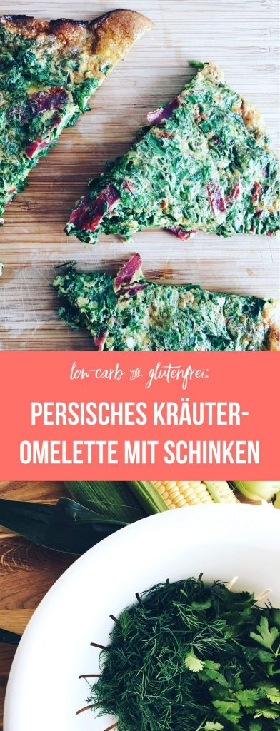 Persisches Kräuter-Omelette mit Schinken | fructosearm, FODMAP, low-carb, gluten-frei | fructopia.de