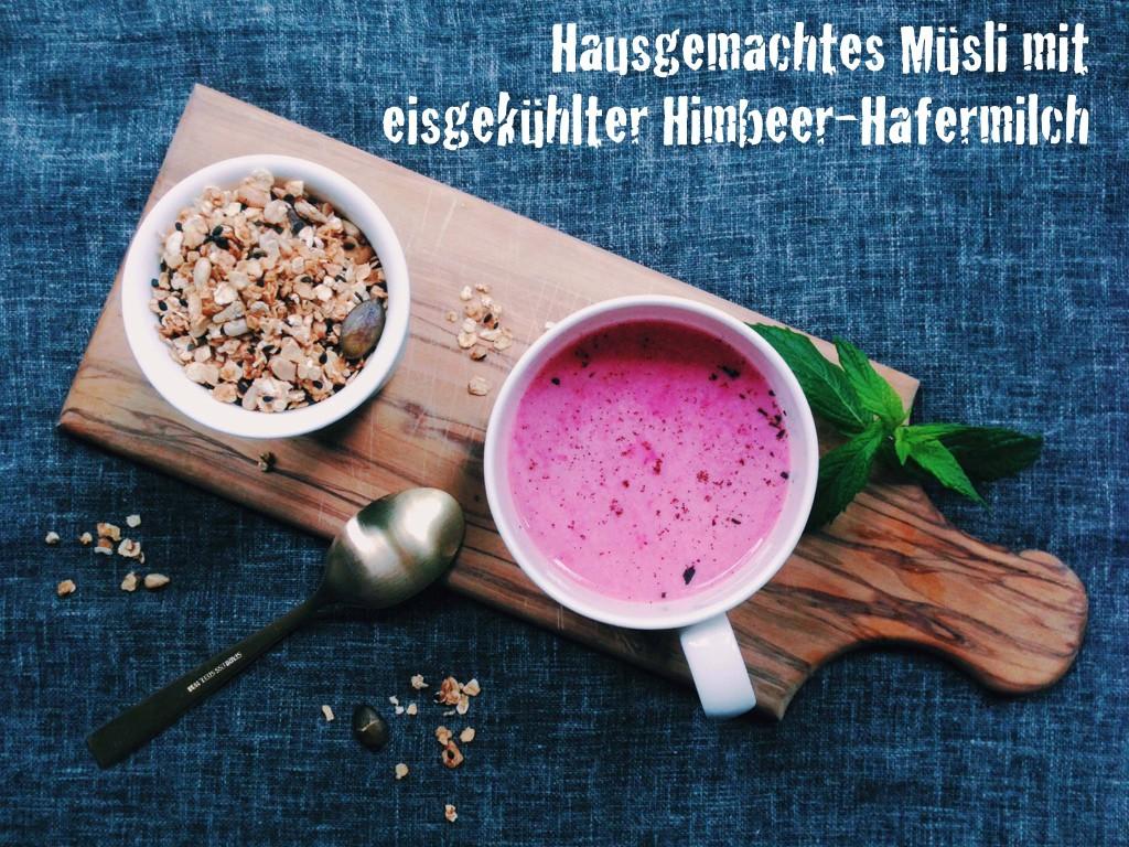 Fructosearmes Sommerfrühstück: Hausgemachtes Müsli mit eisgekühlter Himbeer-Hafermilch // fructopia.de