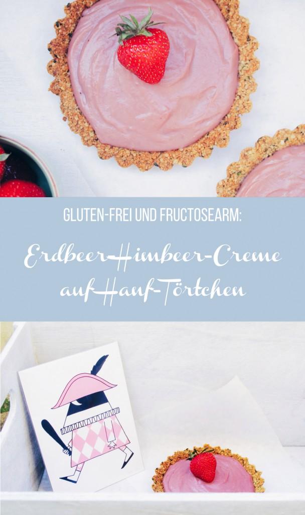 Dieses neue Rezept ist wahrhaftig königlich: Gluten-freie Hanfsamen Törtchen mit fructosearmer Erdbeer-Himbeer-Creme // fructopia.de