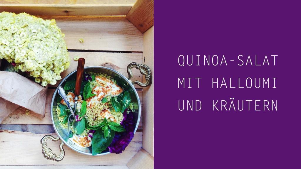 Quinoa-Salat mit gegrilltem Halloumi, Kräutern und Tahini-Dressing (vegetarisch, gluten-frei, fructosearm) // fructopia.de