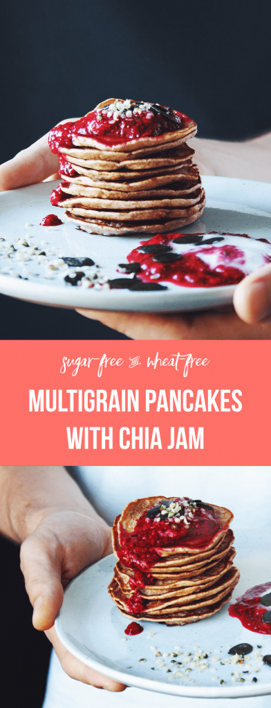 Sugar-free multigrain pancakes with kefir, buckwheat flour, spelt flour and brown top millet | low fructose, wheat-free | fructopia.de/en