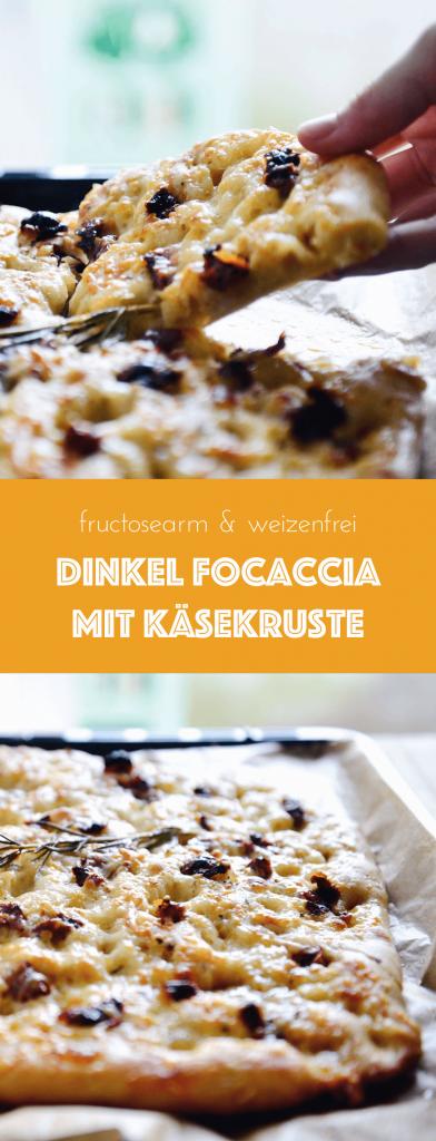 Knusprige Dinkel Focaccia mit Käsekruste und getrockneten Tomaten | weizenfrei, fructosearm | fructopia.de