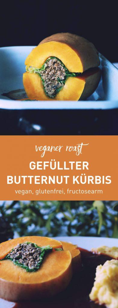 Damit alle alles essen können: Gefüllter Butternut Kürbis mit Rotweinsoße und Kartoffelpüree. Köstliches 3-Gänge-Menü, glutenfrei, fructosearm, vegan | Rezept auf fructopia.de
